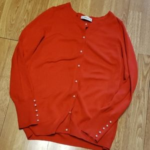 Zara red pearl button cardigan sz XL